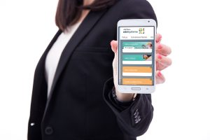 young business woman showing smart phone with blank screen isola